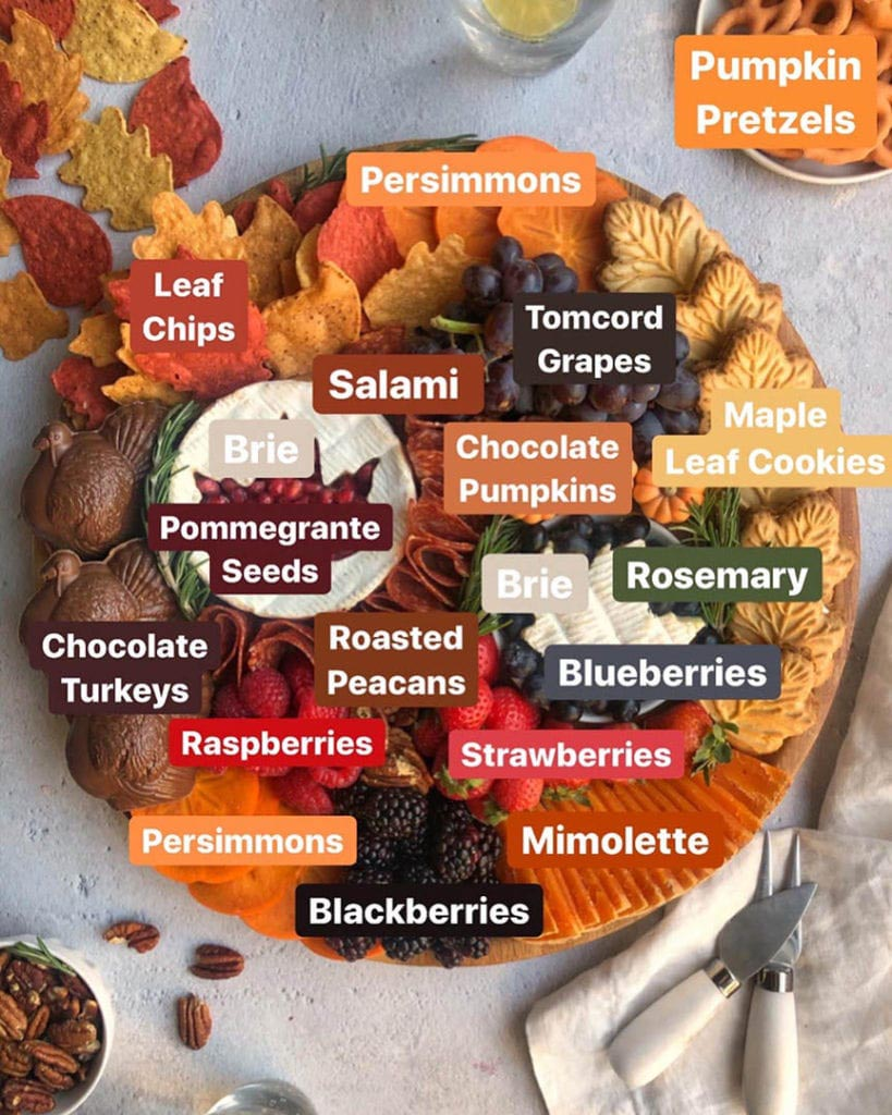 thanksgiving themed desserts and cheese platter