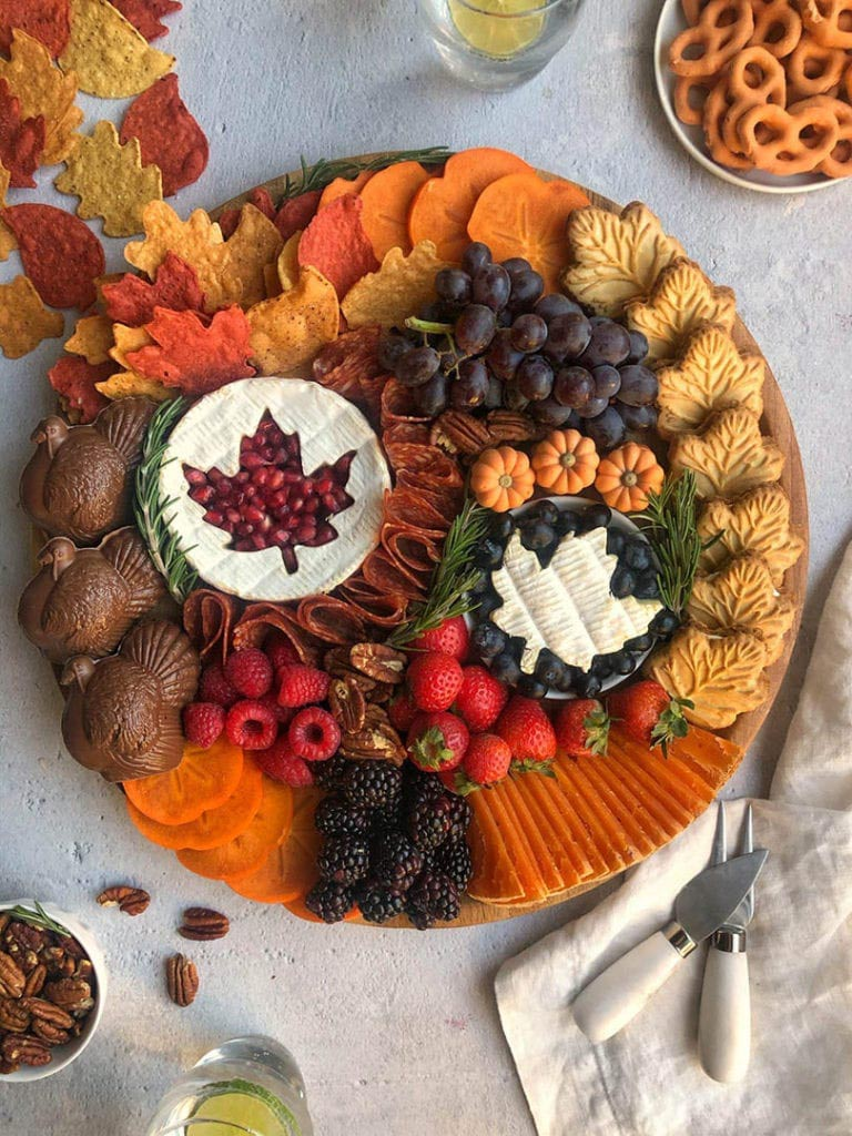 thanksgiving cheese board and thanksgiving desserts