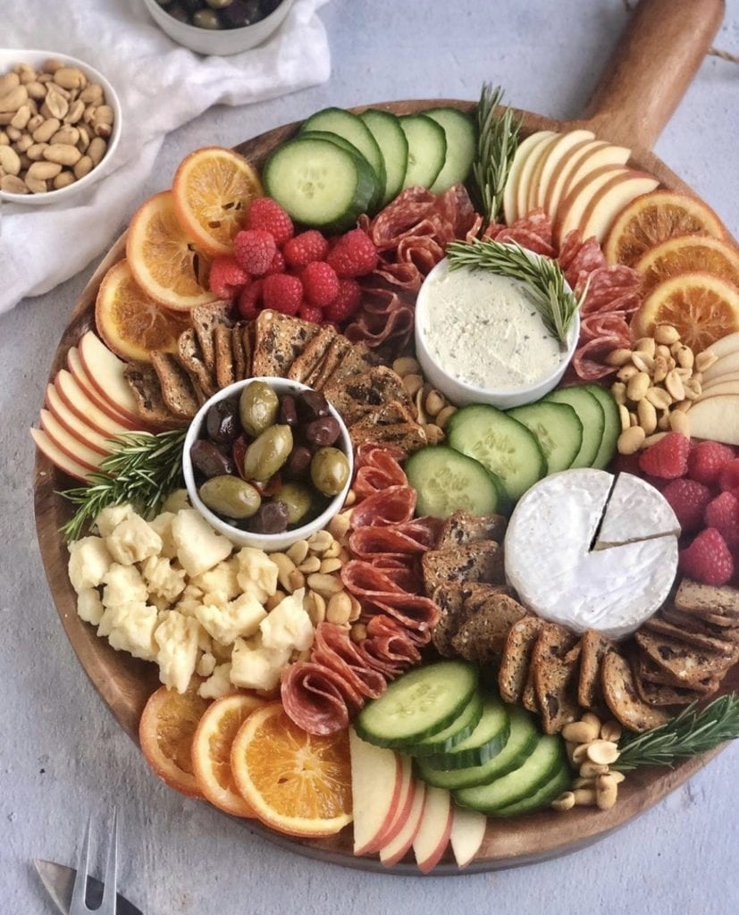 cheese board using products from trader joe's