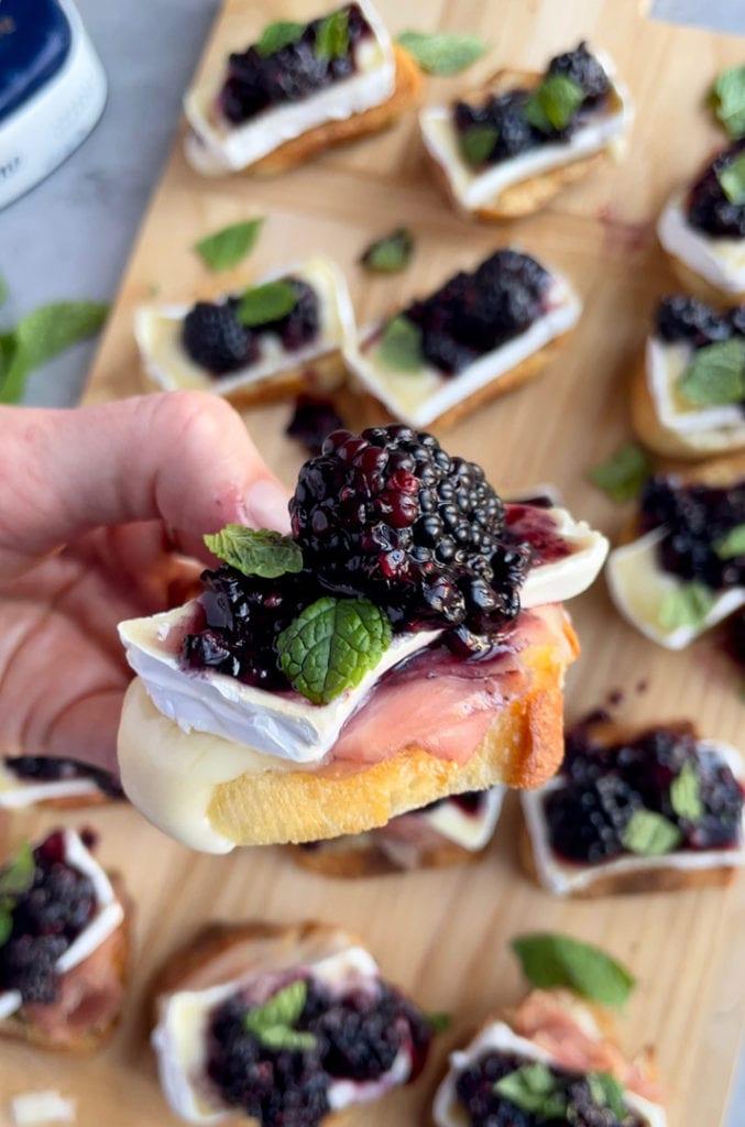supreme brie blackberry jam crostini