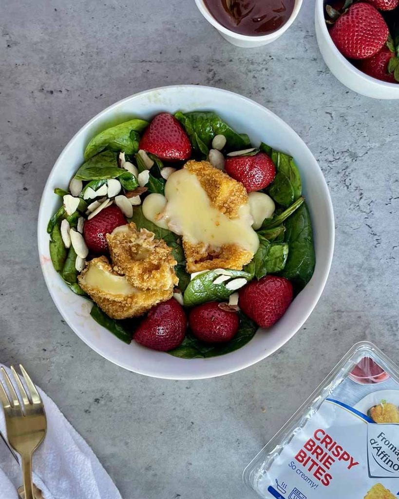 baked strawberries & spinach salad